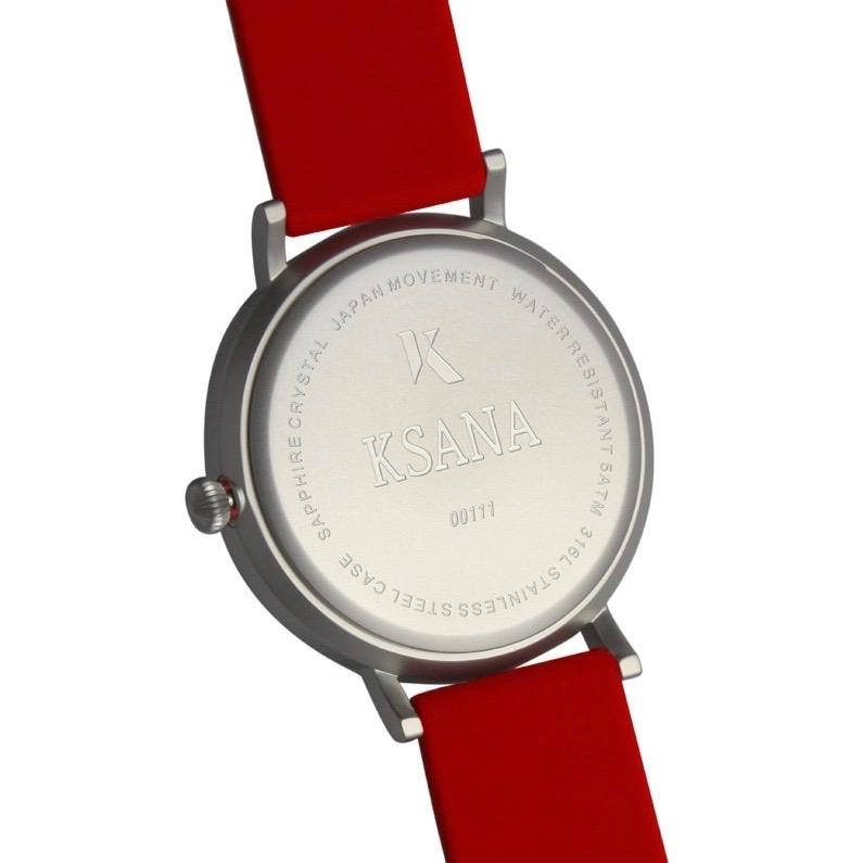 Ruby Red & Silver Silicone Watch - Back