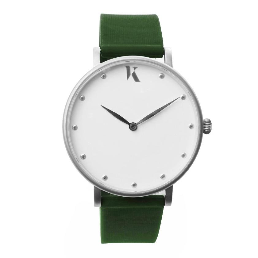 Emerald Green & Silver Silicone Watch - Face
