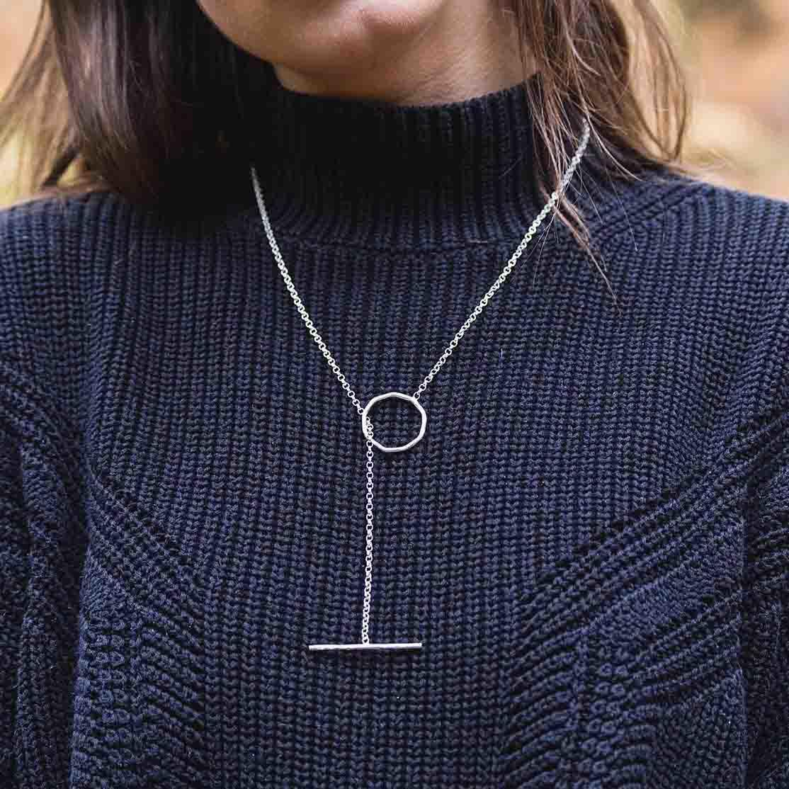 Thread Through Necklace - On