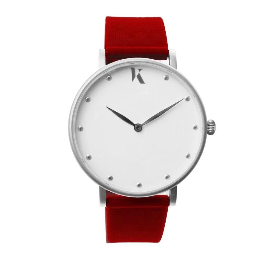 Ruby Red & Silver Silicone Watch - Face