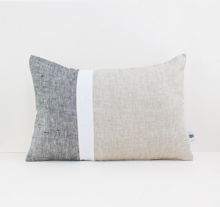 Linen & Stripes - Geometric Oblong Cushion Cover 1
