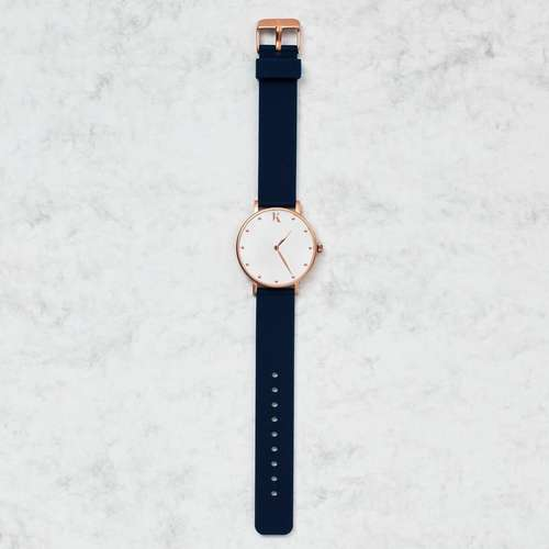 Sapphire Blue & Rose Gold Silicone Watch
