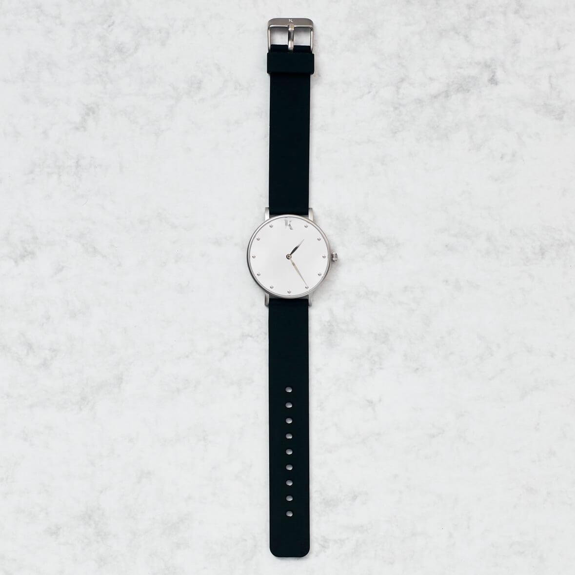 Jet Black & Silver Silicone Watch