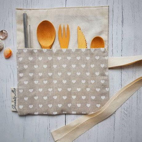 Zero Waste Cutlery Set - White Heart