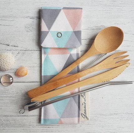 Geometric Triangle Cutlery Pouch