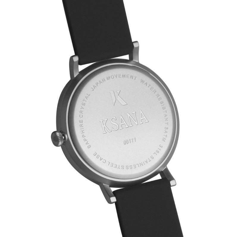 Jet Black & Silver Silicone Watch - Back