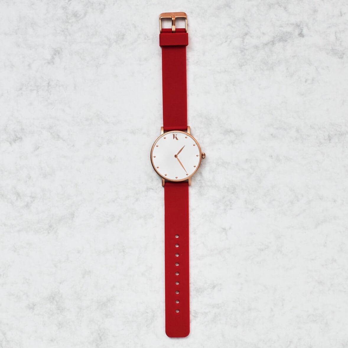 Ruby Red & Rose Gold Silicone Watch