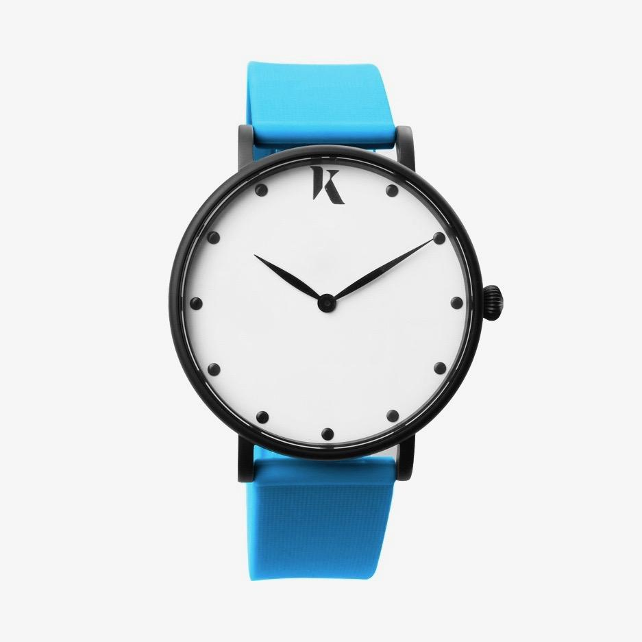 Neon Blue Silicone Watch - Face