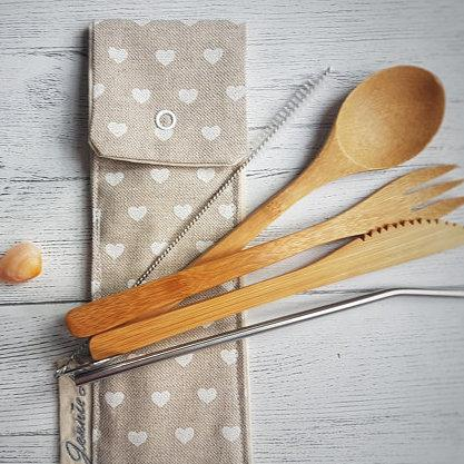 White Heart Cutlery Pouch