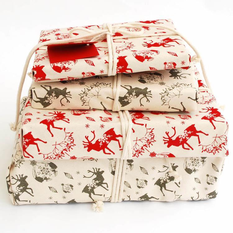 Reusable fabric gift wrap.