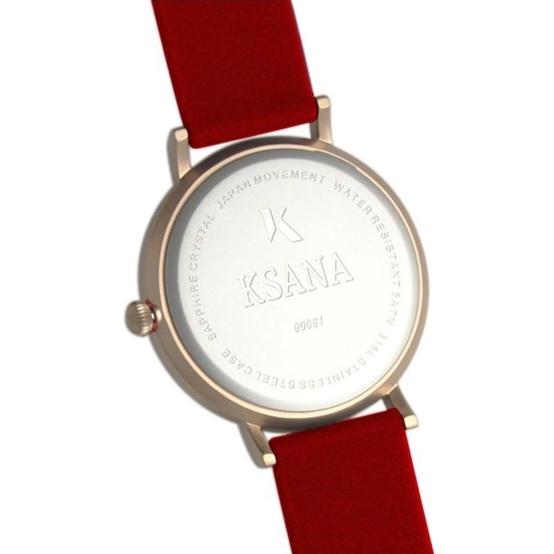 Ruby Red & Rose Gold Silicone Watch - Back