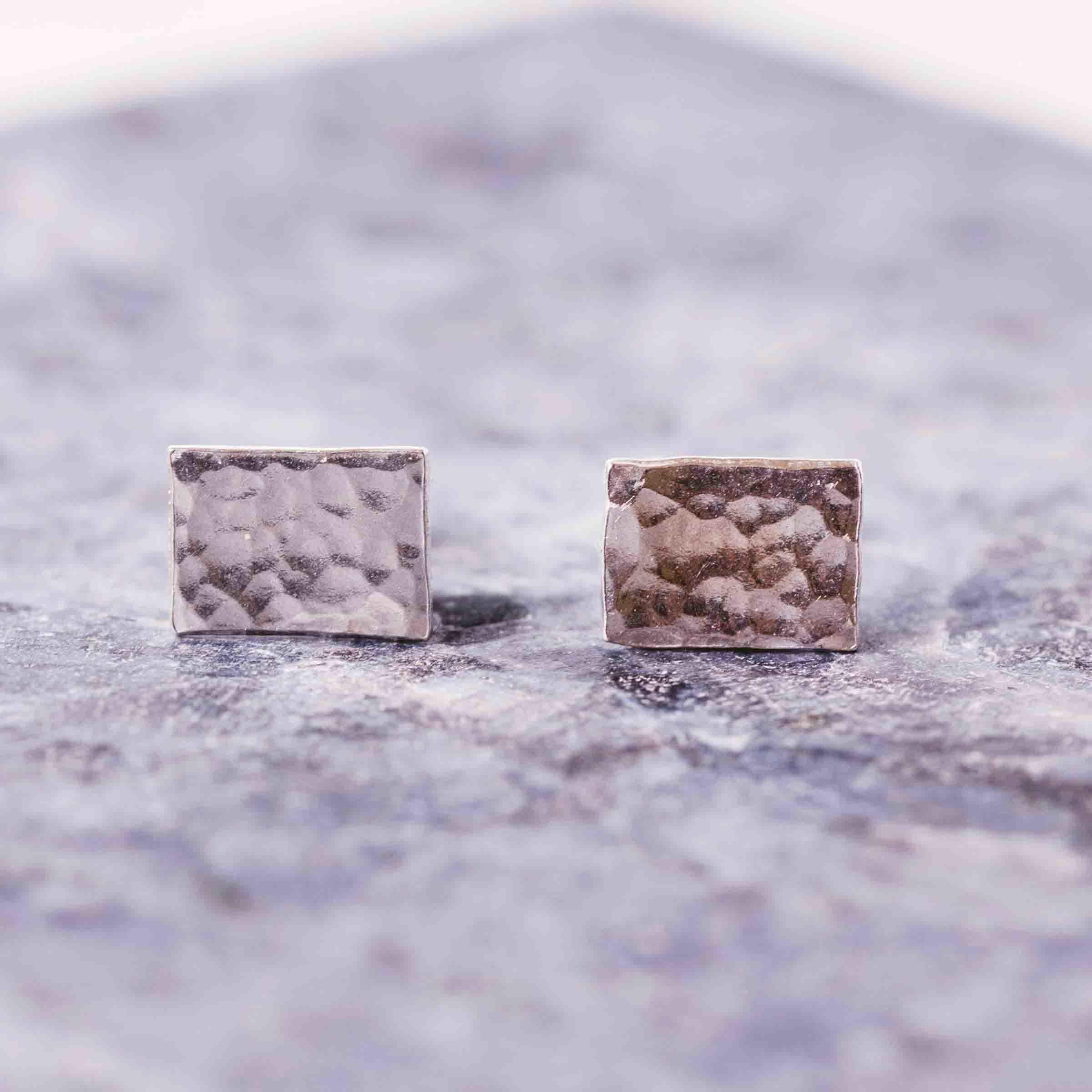 Hammered Rectangle Studs