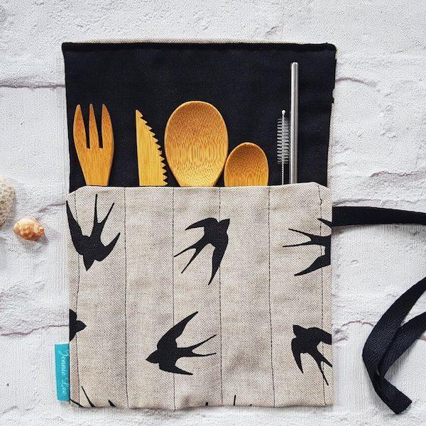 Black Swallows Cutlery Set