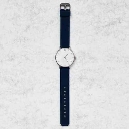 Sapphire Blue & Silver Silicone Watch