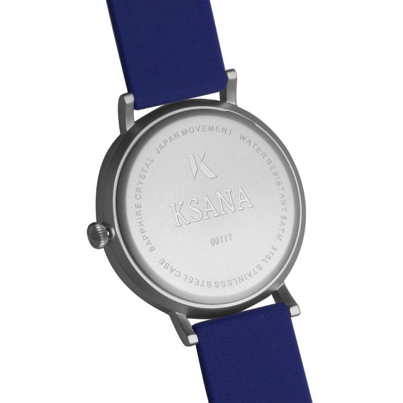Sapphire Blue & Silver Silicone Watch - Back