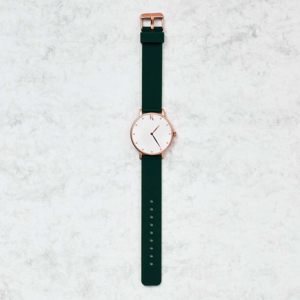 Emerald Green & Rose Gold Silicone Watch