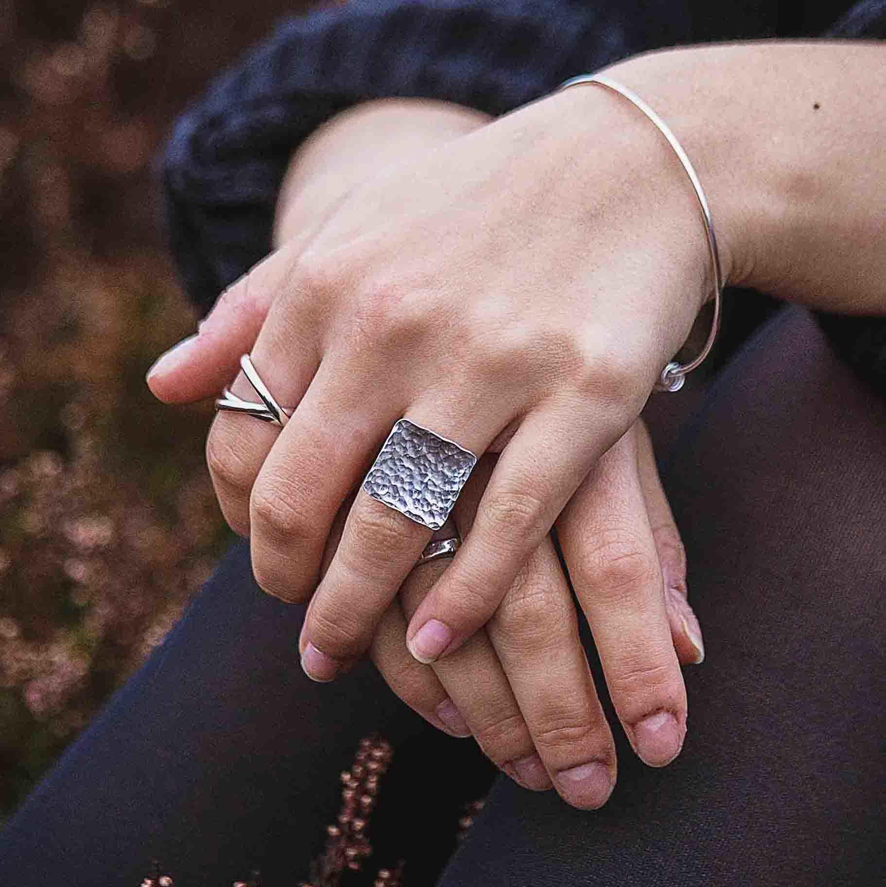 Hammered Square Ring - On