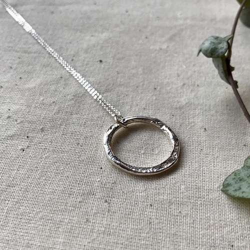 Molten Silver Circle Necklace