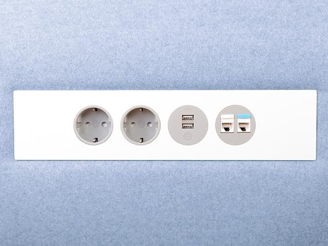 OE Electrics Silver-Grey Petra Socket Unit in blue panel
