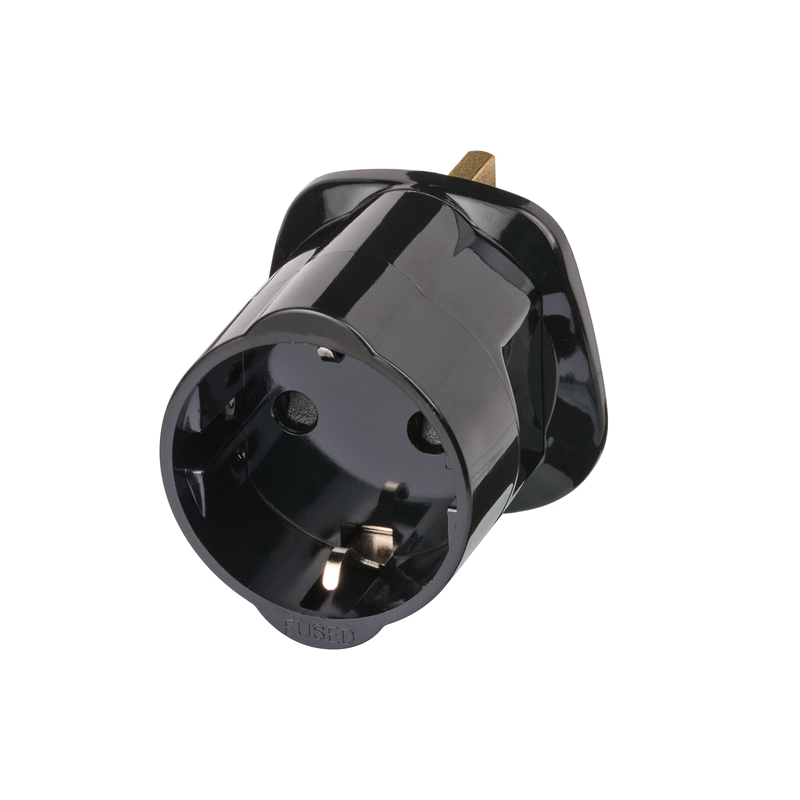 Adaptor UK 13A Plug to DE Schuko Socket front