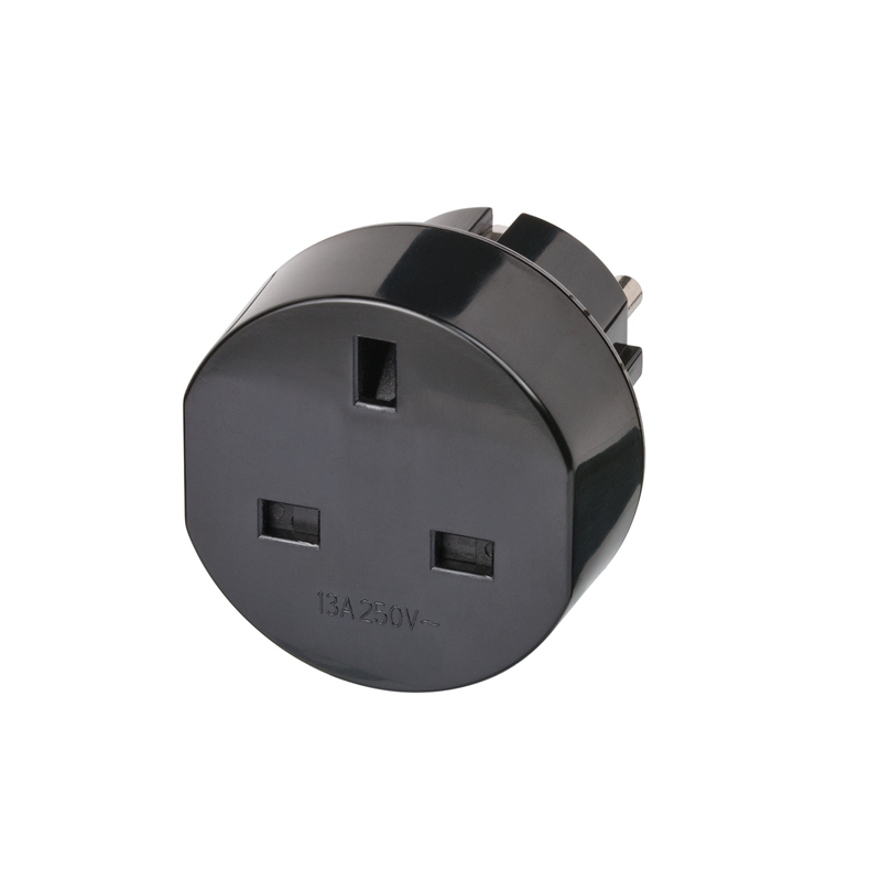 Adaptor DE Schuko Plug to UK 13A Socket front