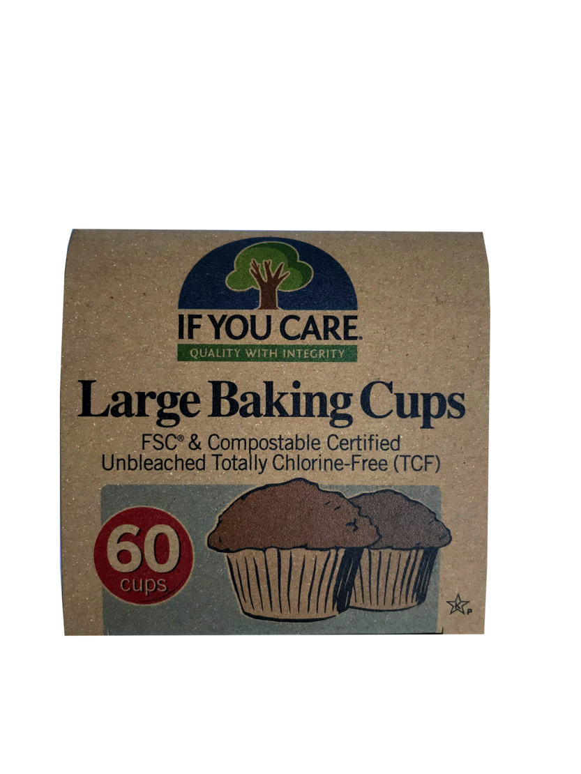 square natural brown box packaging showing tree image and text labelling if you care large baking cups