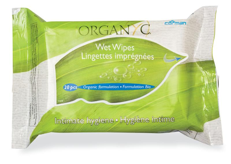 green and white packet with leaf image label shows organyc wet wipes intimate hygiene