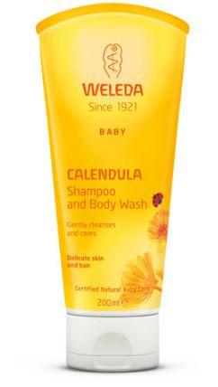 A yellow squeezy tube with white flip top cap. Orange labelling shows weleda baby calendula shampoo and body wash.