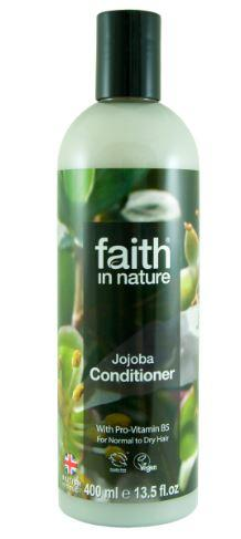 A clear plastic bottle with black cap. Label has photo image of jojoba. Label shows faith in nature Jojoba conditioner.