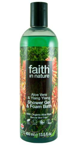 clear plastic bottle with green coloured body wash. Photo image on label of flowering aloe vera plants. Label shows faith in nature aloe vera shower gel
