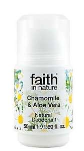 A white roll on bottle with white cap, label has photo image of chamomile flowers. Label shows faith in nature chamomile and aloe vera deodorant.