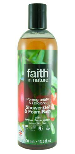 A clear plastic bottle and black cap. Label has photo image of pomegranate tree. Label shows faith in nature pomegranate shower gel