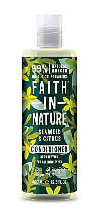 A clear bottle and cap. Label decorated with graphics of seaweed shades of green and blue. Label shows faith in nature seaweed and citrus conditioner