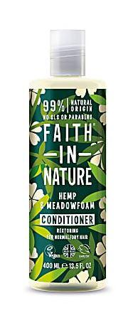 a clear plastic bottle and cap, decorated label with graphic images of  green hemp leaves and cream flowers. Label shows faith in nature hemp and meadowfoam conditioner.