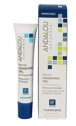 A white plastic tube with blue cap. Label shows andalou blemish vanishing gel. White and blue box packaging.
