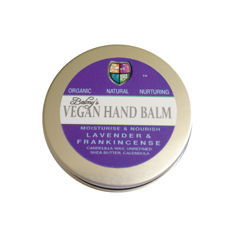 A round silver aluminium tin with dark purple and white label. Label shows balmys vegan lavender and frankincense hand balm.