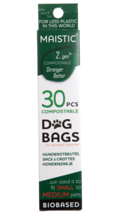 Dark green and white box packaging showing maistic compostable dog bags small