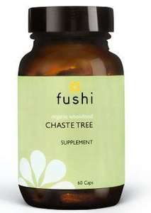 Brown glass jar with black lid. Label shows fushi Chaste Tree.