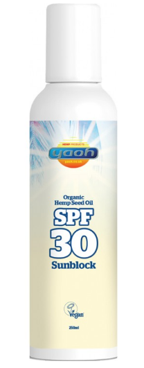 White plastic bottle, brown label showing yaoh organic hemp seed oil sunblock spf 30