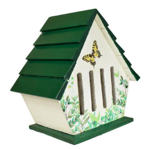 a butterfly house painted white with a dark green roof with painted butterfly motive on the front. Long narrow slots on the front.