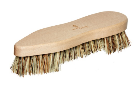 Top view of natural light beech wood coloured scrubbing brush with brown bristles