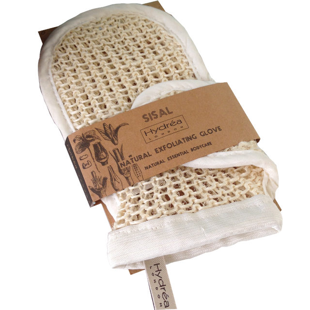 A knitted textured natural coloured sisal mitt with white cotton edging. Presented in a natural brown cardboard wrap around packaging. Label shows Hydrea natural exfoliating glove.