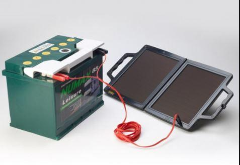 portable solar charger powering up a charger unit