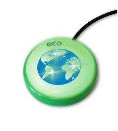 The Eco Button Round green button with a blue centre depicting the world