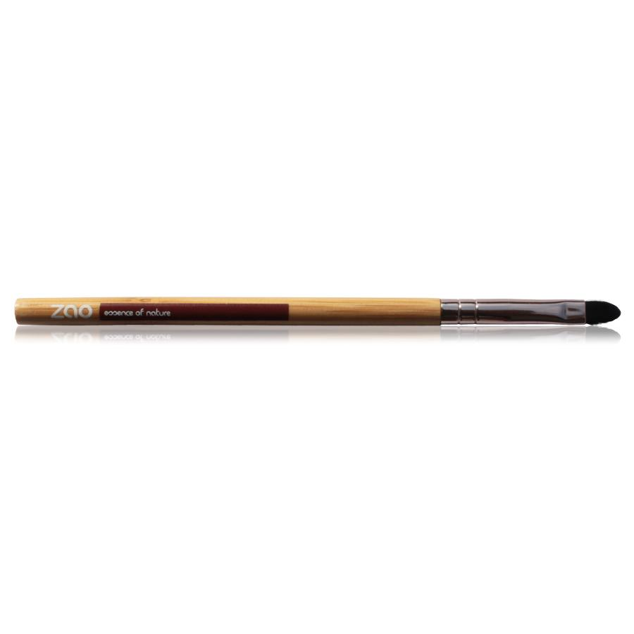 lip brush, long light bamboo wood and rose gold metal handle with black synthetic hair, handle shows zao.