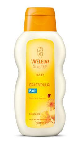 White plastic bottle with orange cap. Yellow labelling shows Weleda Baby Calendula bath.