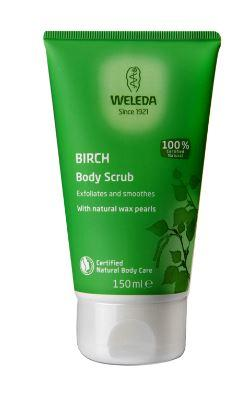 A green squeezy tube with white cap. Label shows weleda birch body scrub.