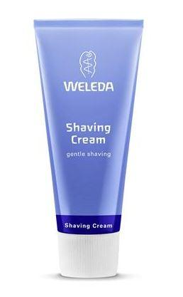 Blue squeezy tube with white cap. Label shows weleda shaving cream.
