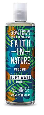 Clear bottle with clear cap. Label decorated with images of coconut and green leaves on green background. Label shows faith in nature coconut body wash.