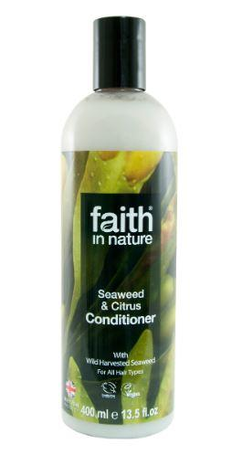 A clear bottle with black cap. Label has photo close up image of seaweed. Label shows faith in nature seaweed conditioner.